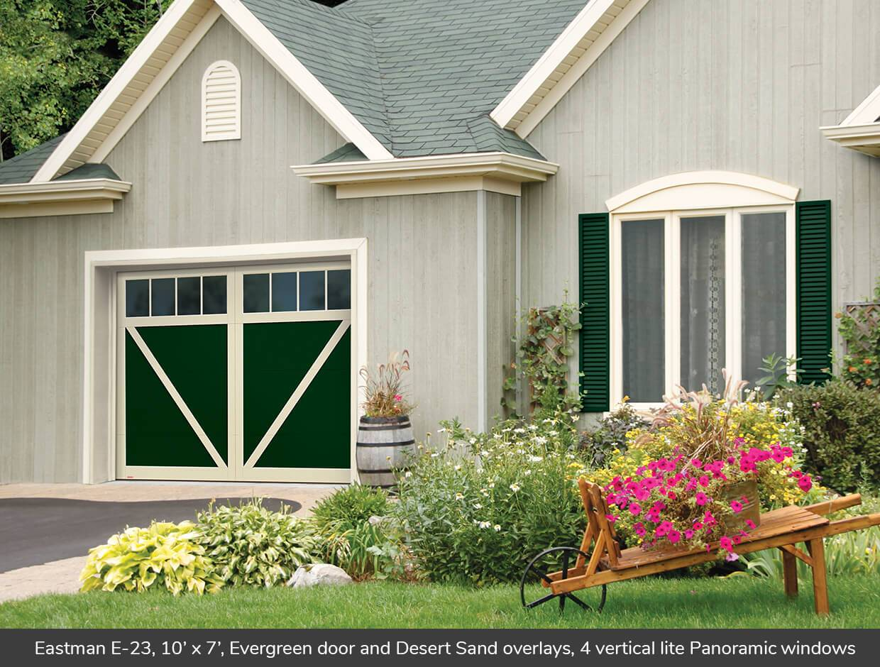Eastman E-23, 10' x 7', Evergreen door and Desert Sand overlays, Panoramic 4 vertical lite windows