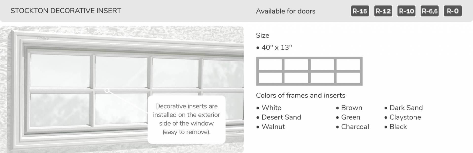 Stockton Decorative Insert, 40' x 13', available for doors R-16, R-12, R-10, R-6,6 and R-0