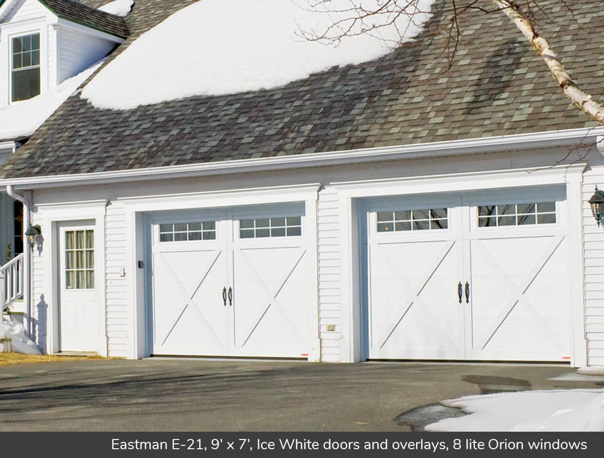 Eastman E-21, 9' x 7', Ice White doors and overlays, 8 lite Orion windows